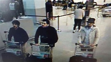 Two on the left are believed to Brussels suicide bombers, the man on the right is still being sought by the police. Photo from AP.
