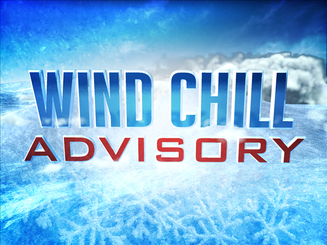 Wind chill advisory posted, caution urged when heading outside