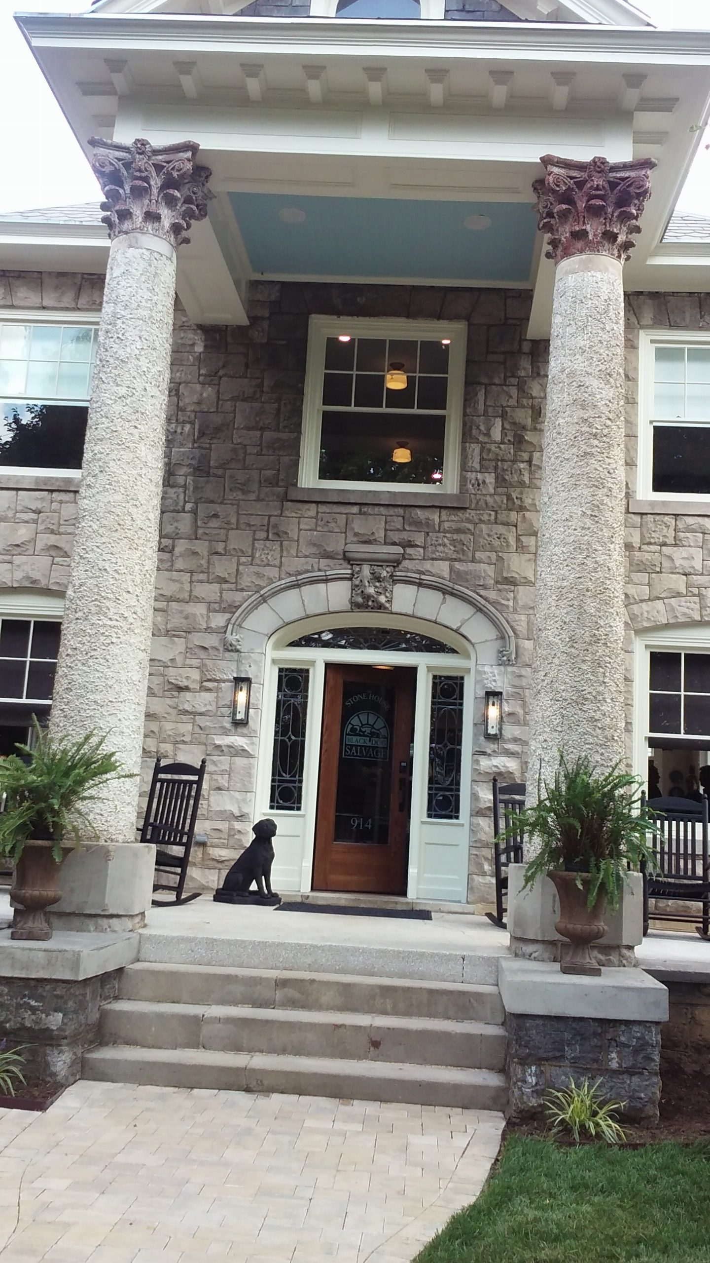 Black dog salvage 39 s remodeled stone house open for rentals for Black stone house
