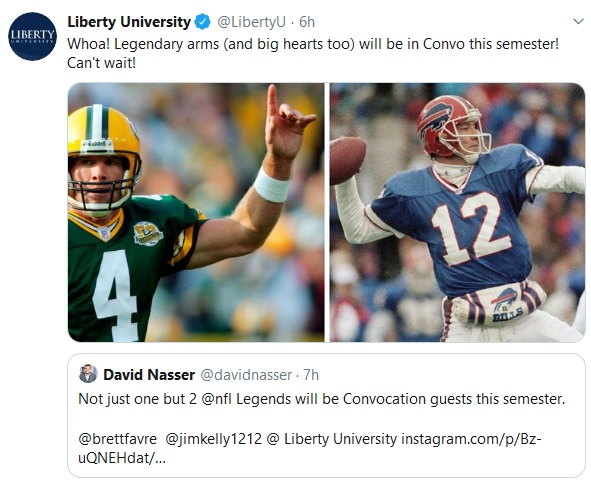 Favre, Kelly among Liberty University speakers this fall